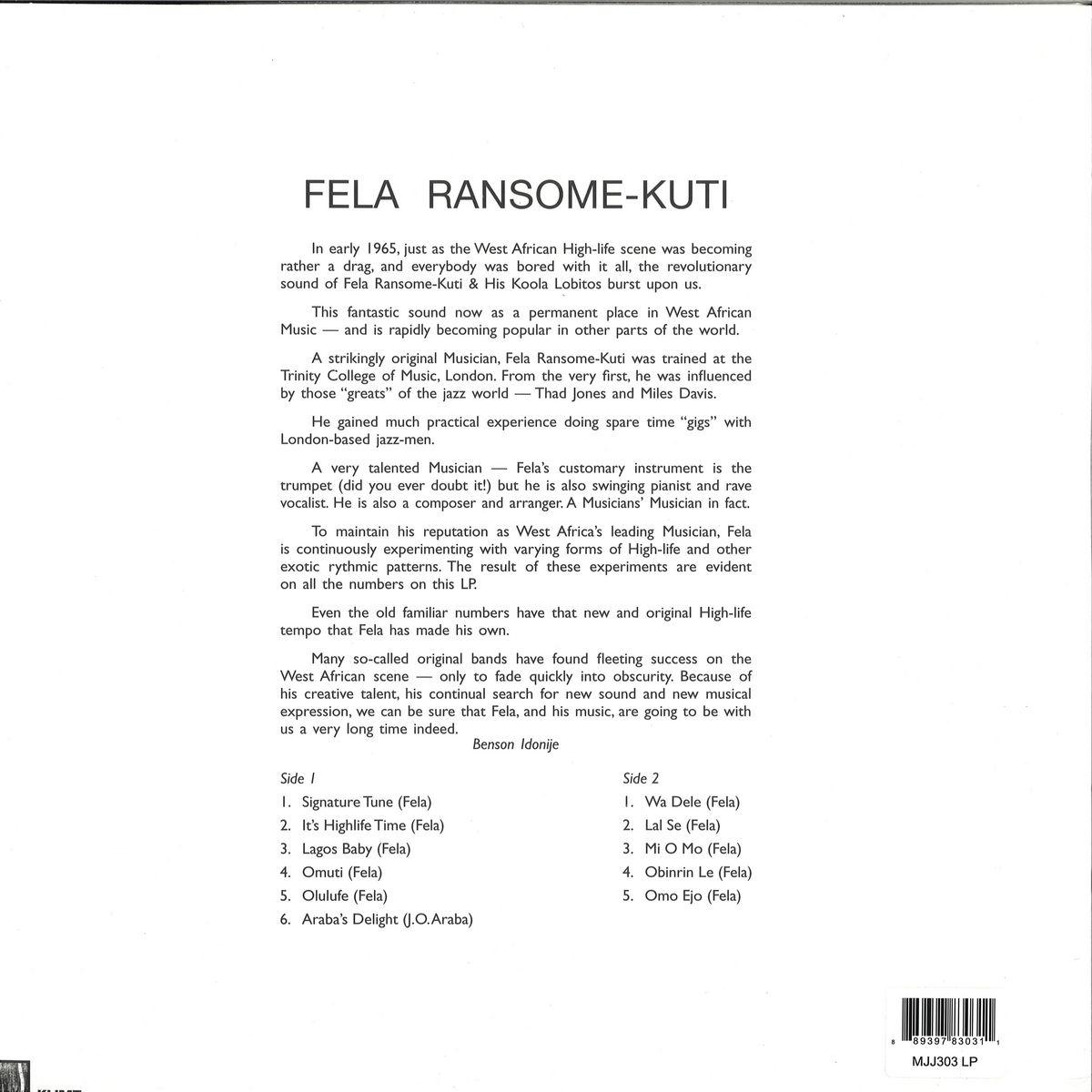 Fela Ransome Kuti And His Koola Lobitos - LP